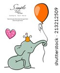 baby elephant holding a balloon | Shutterstock .eps vector #213212509