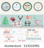 set of flat new year and merry... | Shutterstock .eps vector #213232981
