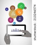 tablet in his hands. concept of ... | Shutterstock . vector #213246574