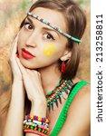hippie girl   Shutterstock . vector #213258811