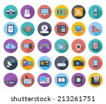 devices icons  whit long shadow.... | Shutterstock .eps vector #213261751