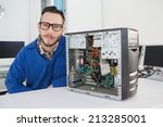 computer engineer smiling at... | Shutterstock . vector #213285001