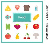 flat food icons set. perfect... | Shutterstock .eps vector #213286204