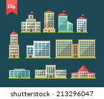 set of vector flat design... | Shutterstock .eps vector #213296047