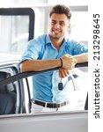 car showroom. happy man with...   Shutterstock . vector #213298645