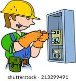 electrician repairing an... | Shutterstock .eps vector #213299491