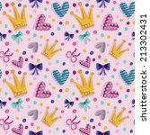 seamless pattern with crowns ... | Shutterstock .eps vector #213302431