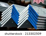 steel angle bunch on the rack... | Shutterstock . vector #213302509