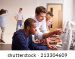 college students using... | Shutterstock . vector #213304609