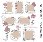 set of doodle spring frames... | Shutterstock .eps vector #213305845