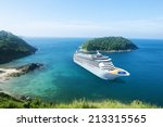 Cruise Ship In The Ocean With...