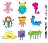 set of monsters cartoon... | Shutterstock .eps vector #213317389