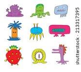 set of monsters cartoon... | Shutterstock .eps vector #213317395