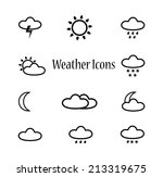 set of flat weather icons for...