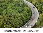curve of the road top view | Shutterstock . vector #213327349