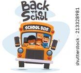 school bus and happy children.... | Shutterstock .eps vector #213328981