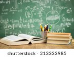 school books on desk  education ... | Shutterstock . vector #213333985
