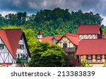 trees and red roofed buildings... | Shutterstock . vector #213383839