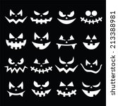 scary halloween pumpkin faces... | Shutterstock .eps vector #213388981