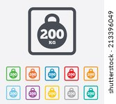 weight sign icon. 200 kilogram  ... | Shutterstock .eps vector #213396049