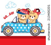 Stock vector cute couple bear cartoon sitting in blue polka dots car on white background 213400201
