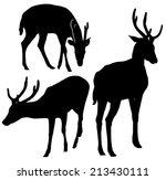 set of deer silhouettes.   Shutterstock .eps vector #213430111