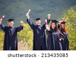 portrait of happy students in... | Shutterstock . vector #213435085