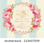 Stock vector wedding invitation card of color flowers vector illustration 213437059