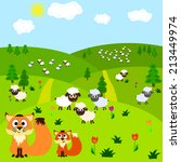 foxes and sheep in a meadow | Shutterstock . vector #213449974