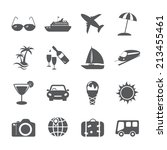 travel and tourism icon set ... | Shutterstock .eps vector #213455461