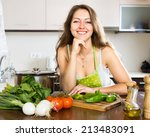 happy housewife making a... | Shutterstock . vector #213483091