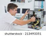 young technician working on... | Shutterstock . vector #213493351