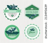 set organic labels or ribbon.... | Shutterstock .eps vector #213493639