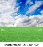 soccer green grass field at the ... | Shutterstock . vector #213504769