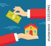 human hands with dollar money...   Shutterstock .eps vector #213515941