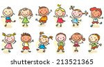 happy cartoon sketchy kids... | Shutterstock .eps vector #213521365