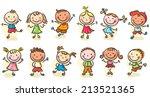 happy cartoon sketchy kids... | Shutterstock .eps vector #213521365