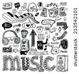 music doodle collection  hand... | Shutterstock .eps vector #213542101
