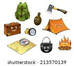 cartoon camping and travel...