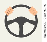 hands holding steering wheel ... | Shutterstock .eps vector #213575875