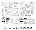 hand drawn fashion collection.... | Shutterstock .eps vector #213580897