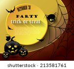 halloween party poster with... | Shutterstock .eps vector #213581761