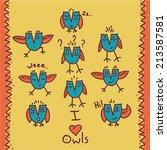 owl vector doodle set | Shutterstock .eps vector #213587581