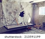 escape from prison cell. 3d... | Shutterstock . vector #213591199