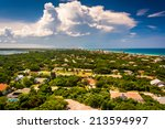 Northern view toward Daytona Beach, seen from the top of Ponce de Leon Inlet Lighthouse, Florida.