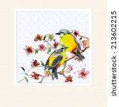watercolor card with a bird | Shutterstock . vector #213602215