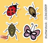 vector set of stickers with... | Shutterstock .eps vector #213610009