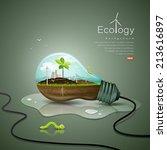 light bulb ecology concept... | Shutterstock .eps vector #213616897