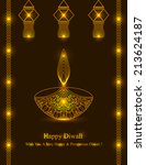 decorative diwali lamp design... | Shutterstock .eps vector #213624187