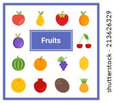 flat fruit icons set. perfect... | Shutterstock .eps vector #213626329